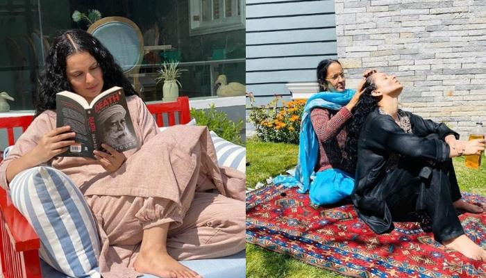 Kangna Ranaut Enjoys A Full Fleged Champi By Her Mother While Sun-Bathing In Her Home