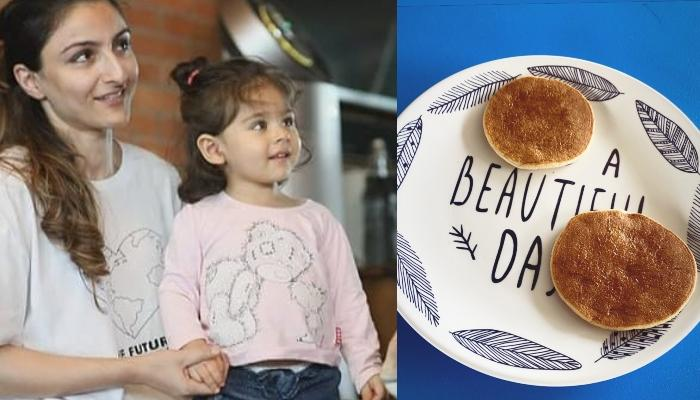 Soha Ali Khan Shares A Cute Picture Of Inaaya As She Enjoys Her Pancakes With Her Pooch