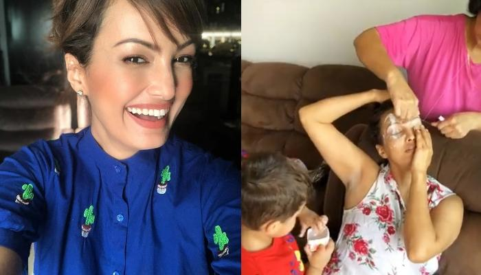 Nisha Rawal Gets Her Eyebrows Done From Her Mom While Her Little Son, Kavish Tries To Help