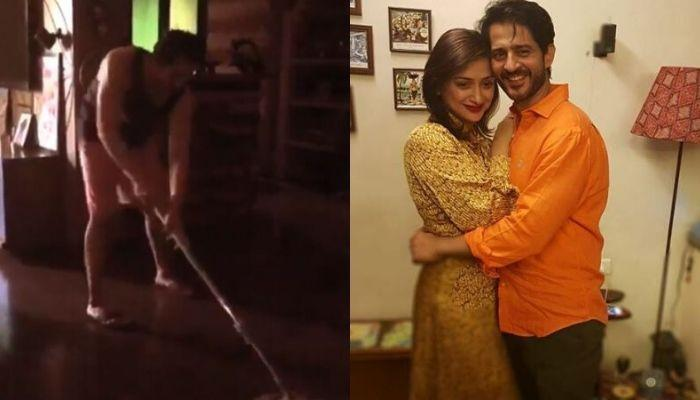 Hiten Tejwani Proves, Women Are Not Maids, Mops The Floor, Helping Wife, Gauri As She Records Him