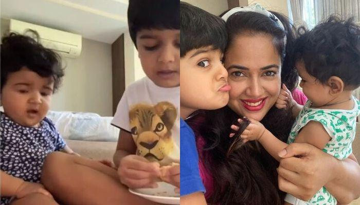 Sameera Reddy's 5-Year-Old Son, Hans Feeds His 10-Month-Old Sister, Nyra, Performs His Brother Duty