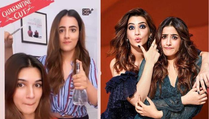 Kriti Sanon Says 'Baal Baal Bach Gaye' As Sister, Nupur Gives Her Long Hair A Sassy Hair Cut [VIDEO]