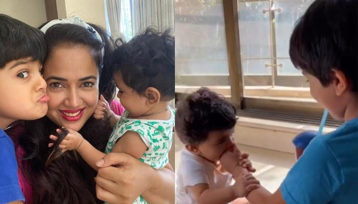 Sameera Reddy's Son, Hans Running Away From His Little Sister, Nyra Is Every Brother Ever