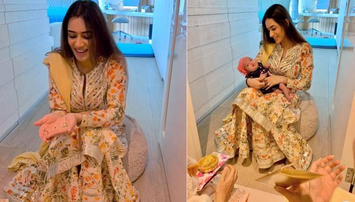 बेटी के जन्म के 55 दिन बाद स्मृति खन्ना के घर हुई पूजा, देखें बेबी डॉल 'अनायका' की क्यूट फोटोज