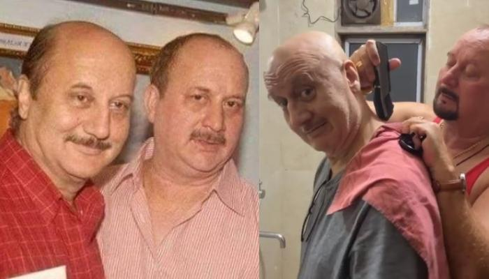 Anupam Kher Hilariously Appreciates Brother, Raju Kher For Giving Him A Quick Haircut [Watch Video]