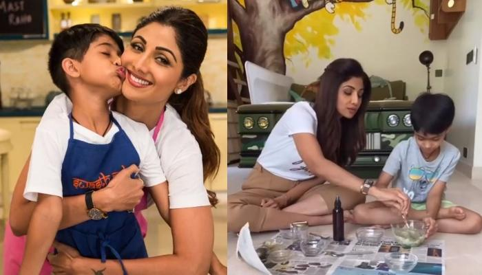 Shilpa Shetty Kundra Occupied Son, Viaan Raj Kundra In Making A 'Mojito Salt Scrub' [Watch Inside]