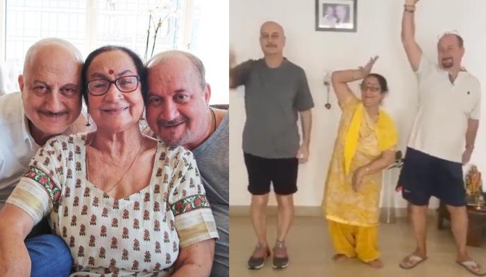 Anupam Kher And Raju Kher's Mother Steals The Limelight As The Trio Dances On Trending Tune [VIDEO]