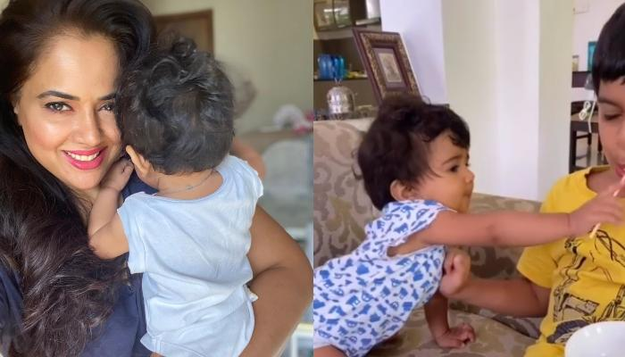 Sameera Reddy Shares A Cute Video Of Her Daughter, Nyra Snatching Lollipop From Her 'Bhaiya'