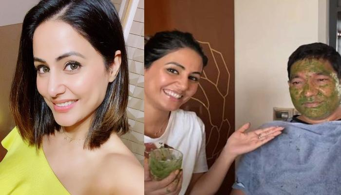 Hina Khan Does Face Mask Experiment On Her Father And His Expressions Are Hillarious