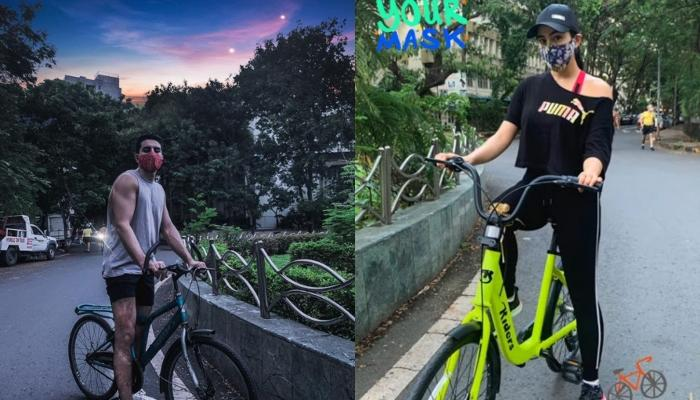 Sara Ali Khan And Her Brother, Ibrahim Ali Khan Were Spotted Cycling On The Roads Of Mumbai