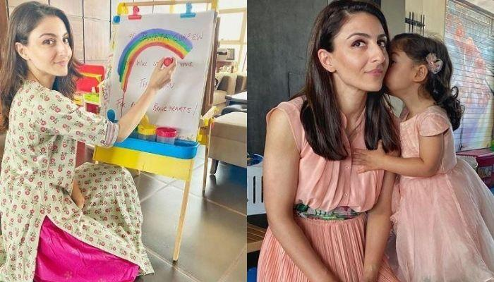 Soha Ali Khan's Little Artist Daughter, Inaaya Naumi Kemmu Makes A Giraffe Out Of Disposable Plate