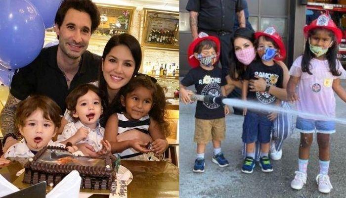 Sunny Leone Takes Her Kids, Nisha, Noah, And Asher To Fire House To Teach Them Fire Safety [Videos]