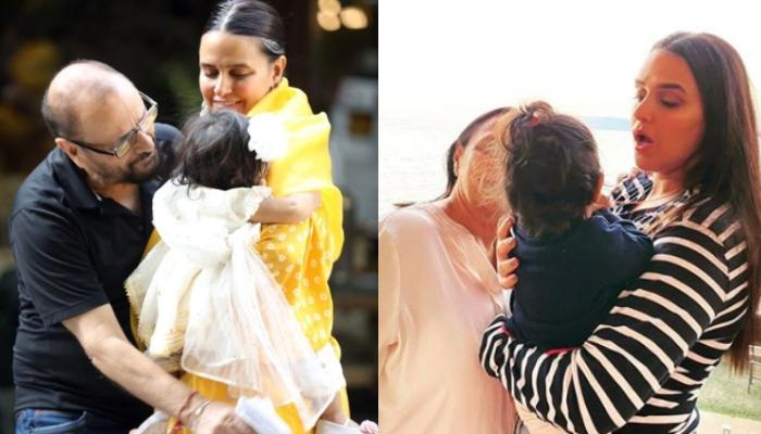 Neha Dhupia's Parents Receive A Special Surprise On Anniversary From Granddaughter, Mehr Dhupia Bedi