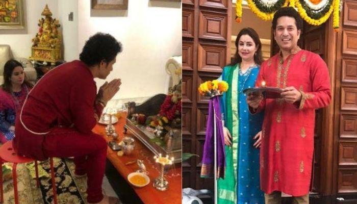 Sachin Tendulkar Performs Ganesh Aarti With Wife, Anjali And Daughter Sara, Celebrates Utsav [Video]
