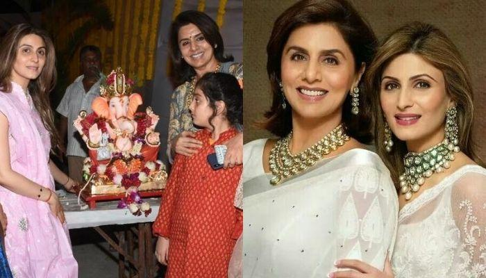 Neetu Kapoor And Riddhima Kapoor Perform Ganesh Visarjan Puja With Their Staff And Dogs [Pictures]