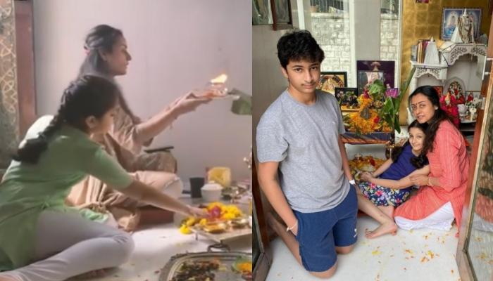 Namrata Shirodkar Shares Glimpses Of Her Ganesh Utsav With Kids, Gautam And Sitara