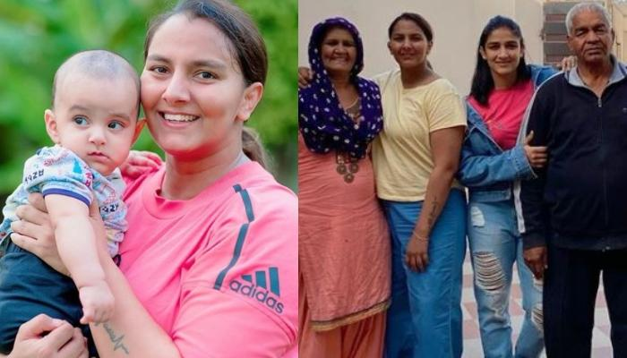 Geeta Phogat's Son Arjun Saroha Looks Adorable Posing With His Nanu-Nani In Phogat's Family Pictures