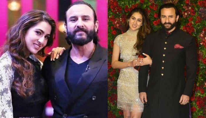 Sara Ali Khan's Then-And-Now Photo With Her 'Abba' Saif Ali Khan, Looks Adorable In Big 'Bindi'