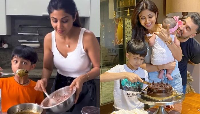 Shilpa Shetty Kundra's Son, Viaan Bakes Brownie For His Sister, Samisha's First Daughter's Day