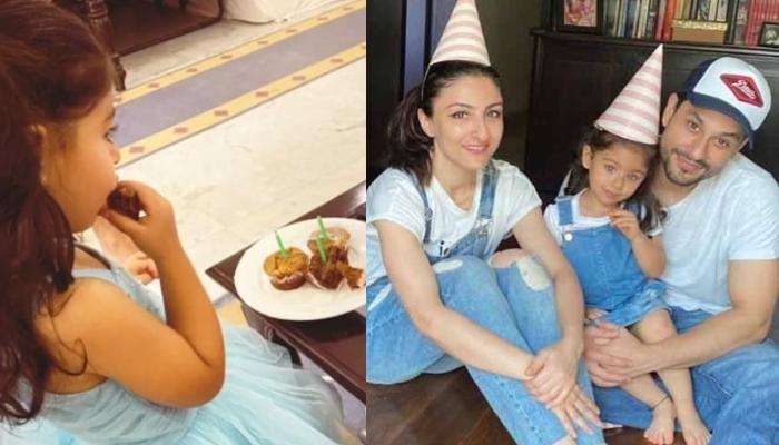 Inaaya Naumi Kemmu Looks Like Elsa In Blue-Coloured Dress On 3rd Birthday, Poses With Soha And Kunal