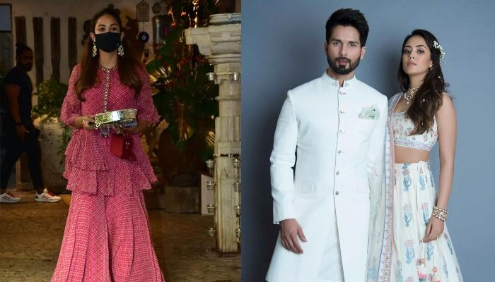 Mira Rajput Looks Elegant In A Red 'Sharara' As She Is Spotted For The 'Karwa Chauth' Celebration