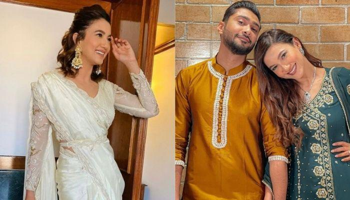 Gauahar Khan Spotted Wearing A Three Coloured Saree For A Friend's Wedding With Hubby, Zaid Darbar