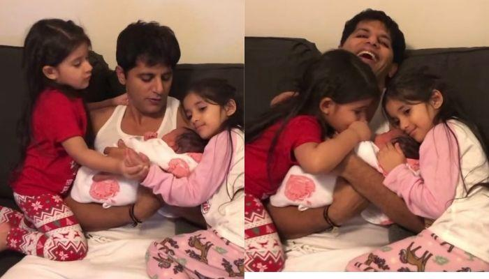 Karanvir Bohra's Twins Bella-Vienna Smothers Their Newborn Sister With Kisses, She Holds Their Hands