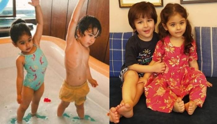Taimur And Inaaya's Poolside Photo In Robes Is A Delight, Their Daddies In The Back Are Photobombing