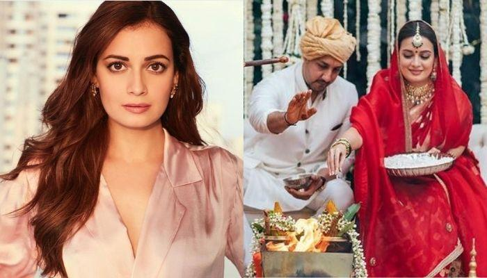 Dia Mirza Wore 'Sindoor' And Opted For A Rs 27,000 Rose Pink Anarkali Suit For A Post-Wedding Rasam