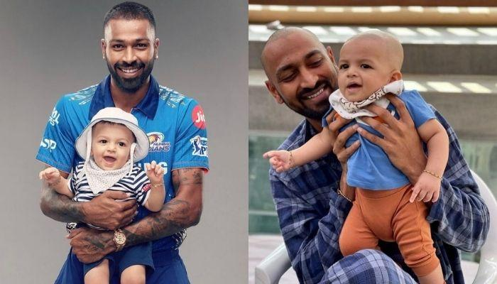 Hardik Pandya's Son, Agastya Enjoys A Stroller Ride With His 'Papa' And 'Tau Ji', Krunal Pandya