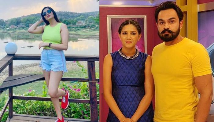 'Bigg Boss 11' Fame, Sapna Choudhary Flaunts Husband, Veer Sahu's Name Tattoo In A Polka-Dot Saree