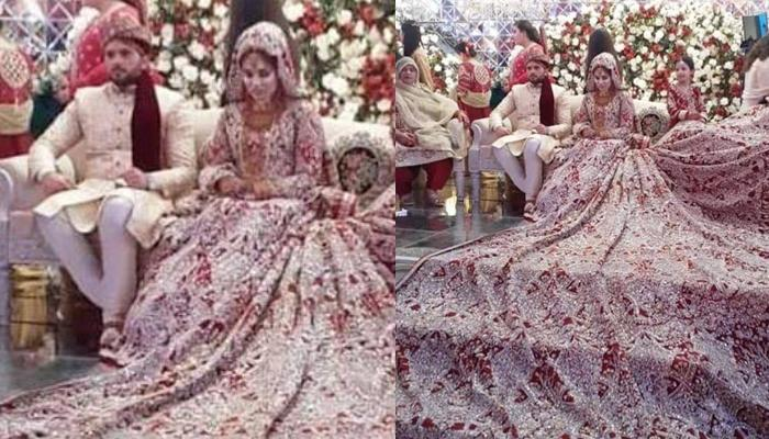 Pakistani Bride Wore A 100 Kg Lehenga On Her Wedding Day Covering The Entire Stage