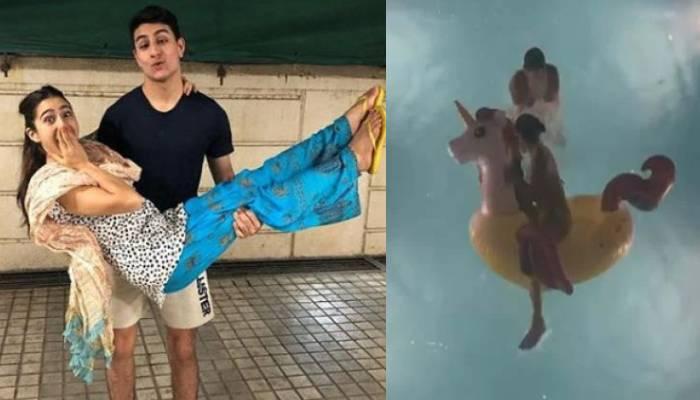 पूल में मस्ती कर रही थी सारा अली खान तभी भाई ने दे दिया धक्का, सामने आया वीडियो